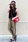 Leopard-forever-21-pants-black-forever-21-blouse
