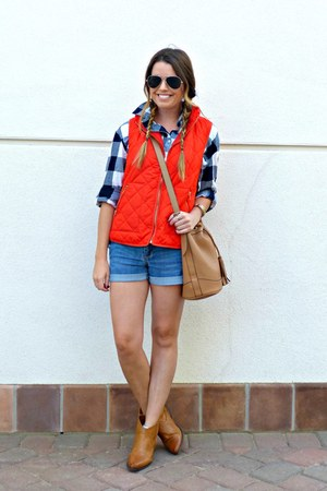 denim Forever 21 shorts - ankle boots Forever 21 boots - flannel Old Navy shirt