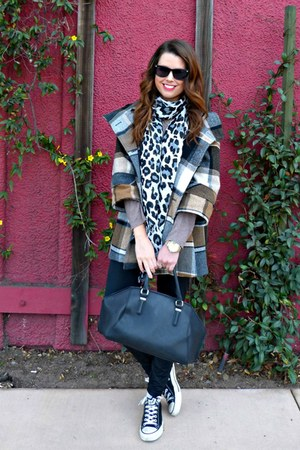 plaid Urban Outfitters coat - leopard print H&M scarf - bowler Zara bag