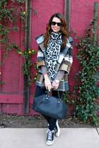 Plaid Coat & Leopard Scarf