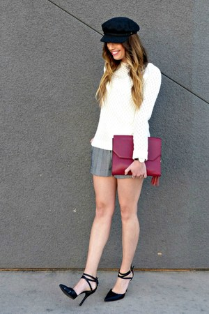 cream Shabby Apple sweater - clutch Dolce Vita bag - trousers Forever 21 shorts