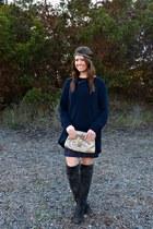 sequin vintage dress - calvin klein boots - navy H&M sweater