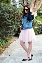 tulle Zara dress - beaded vintage purse - black Manolo heels