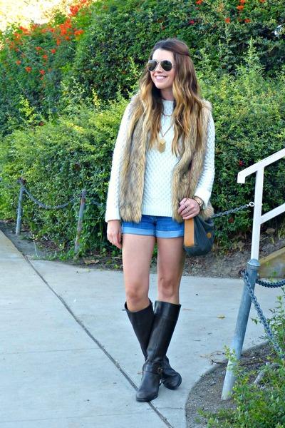 cream Shabby Apple sweater - riding Ralph Lauren boots - denim Forever 21 shorts