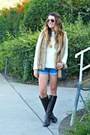 Riding-ralph-lauren-boots-cream-shabby-apple-sweater-denim-forever-21-shorts