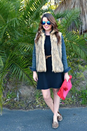 faux fur Marshalls vest - black dress H&M dress - denim Marshalls jacket