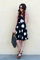 floral print Old Navy dress - vintage Fendi bag - leather Mia wedges