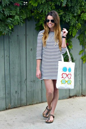 stripes Forever 21 dress - Birkenstock sandals