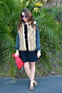 Black-dress-h-m-dress-denim-marshalls-jacket-clutch-zara-bag
