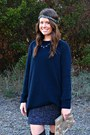 Calvin-klein-boots-sequin-vintage-dress-navy-h-m-sweater