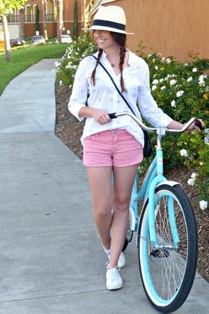 fedora Old Navy hat - cross-body H&M bag - coral denim Forever 21 shorts
