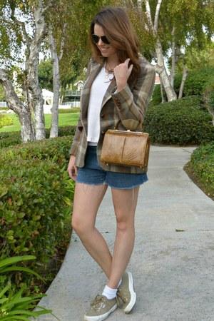 plaid vintage blazer - camel vintage bag - denim vintage shorts