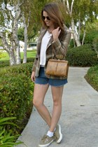 plaid vintage blazer - camel vintage bag - denim vintage shorts