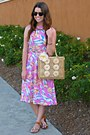 Floral-asos-dress-jeweled-target-sandals-statement-loft-necklace