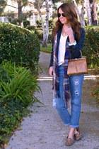 navy pinstripe Jcrew blazer - boyfriend Jessica Simpson jeans