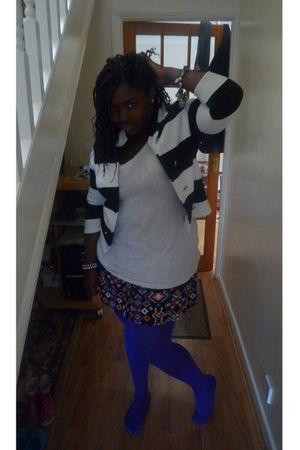 white Charlotte Russe t-shirt - blue River Island skirt - black H&M jacket - pur