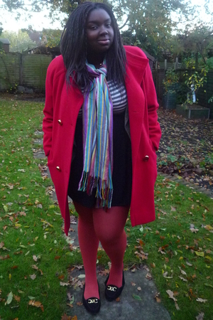 vintage coat - warehouse dress - Oasis tights - Urban Outfitters shoes