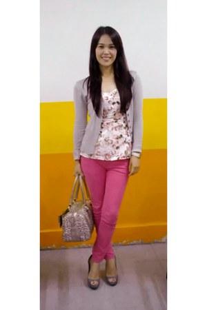 pants - leopard print bag - floral top - heels - cardigan