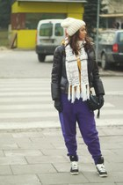 black Puma coat - mustard nike blouse - black nike sneakers - purple Puma pants