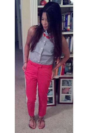 ruby red francescas necklace - banana republic blouse - H&M pants