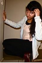 brown boots - blue Stussy jacket - black Levis jeans - beige Sportsgirl top