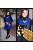 black H&M shirt - blue cynthia rowley dress - black Express tights