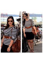 Aldo bag - H&M skirt - stripes Gap top