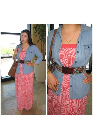 blue chambray shirt Old Navy shirt - coral maxi dress Old Navy dress