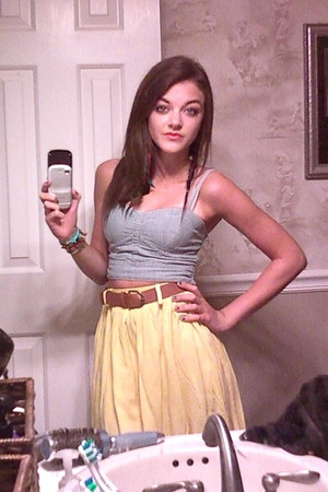 sky blue denim crop top American Eagle top - light yellow Target skirt