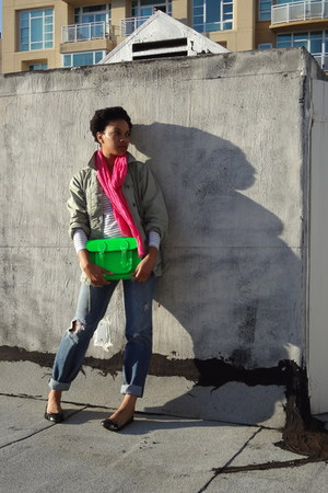 hot pink neon JCrew scarf - Gap jeans - olive green vintage gap red Gap jacket