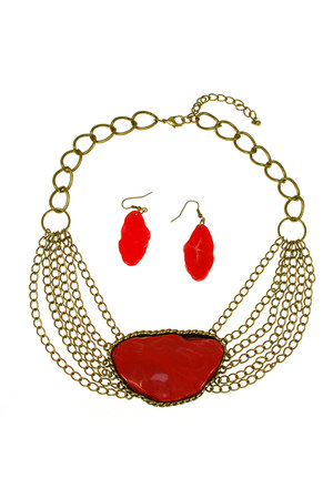 red brass red stone AbsoluteAccessory necklace