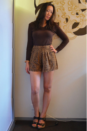 leopard free people shorts - brown Zara sweater