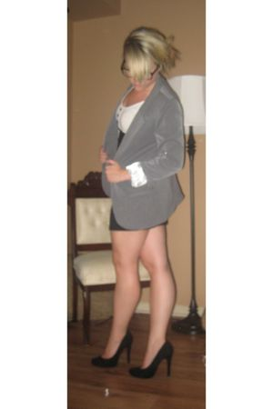 gray Urban Outfitters blazer - black H&M dress - black wal-mart shoes - black f2