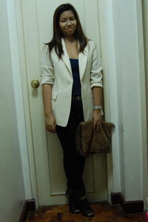 vintage blazer - random top - Zara pants - patricia field purse - Charlotte Russ