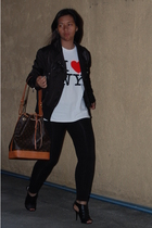 Tomato jacket - shirt - leggings - Louis Vuitton purse - Charlotte Russe shoes