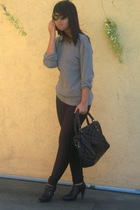 vintage sweater - American Apparel leggings - vintage purse - vintage shoes - Ra
