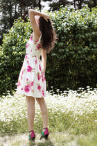 hot pink rose print H&M dress - green color block H&M heels