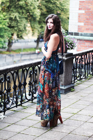 Jeffrey Campbell heels - unknown brand dress - blue Forever 21 bag