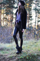 light purple sheer Monki blouse - black harness Nelly boots