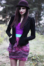 Deep-purple-color-block-estela-balan-dress-magenta-bowler-monki-hat