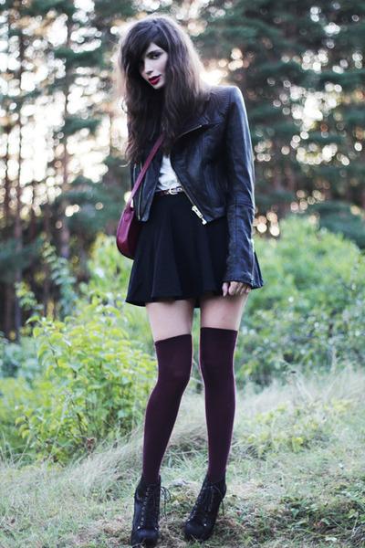 black asos skirt - black leather sofifi jacket - ruby red Monki bag