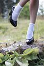Red-polka-dot-gina-tricot-dress-white-lace-lindex-socks-black-h-m-heels