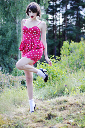 red polka-dot GINA TRICOT dress - white lace lindex socks - black H&M heels