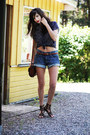 Leather-h-m-bag-denim-h-m-shorts-studded-leather-zara-sandals-polka-dot-sh