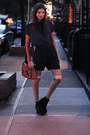 Dark-brown-leather-satchel-vero-moda-bag-black-satin-monki-shorts-silver-ove