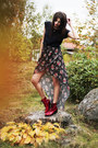 Black-love-skirt-ruby-red-patent-leather-vagabond-boots