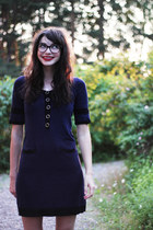 crimson lace ups Nilson shoes - navy knitted lindex dress - Chanel glasses