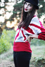 Red-romwe-sweater-white-patent-leather-dr-martens-boots