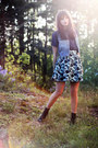 Black-nilson-boots-navy-transparent-monki-shirt-sky-blue-denim-thrifted-vint