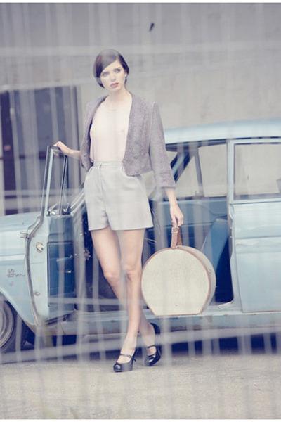 round suitcase vintage bag - Johanna Vikman blazer - Johanna Vikman shorts